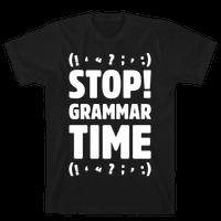 Stop Grammar Time Parody White Print
