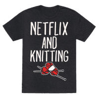 Netflix and Knitting White Print