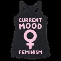 Current Mood Feminism White Print Racerback